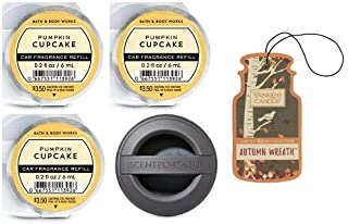Bath and Body Works Black Soft Touch Visor Clip Car Fragrance Holder and 3 Scentportable Pumpkin Cupcake. Paperboard Car Fragrance Autumn Wreath.