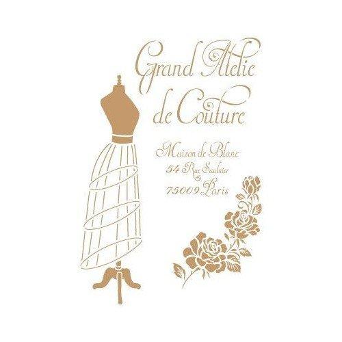 TODO-STENCIL Deco Vintage Composición 206 Grand Atelier. Medidas aproximadas: Medida Exterior 20 x 30 cm Medida del diseño: 18 x 26,5 cm
