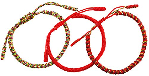 LUCKY BUDDHIST – Tibetan Handmade Bracelets + Necklace/Pendant! – Armbands for Woman, Man, Teen. Adjustable Size! – Friendship Gift, Handcrafted – Chakra Wrist Bangles – Thick Red, Gold, Red