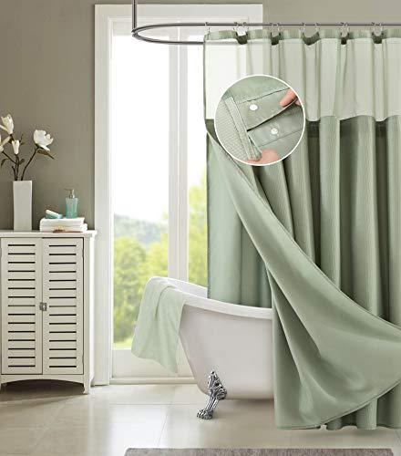 Dainty Home Smart Design 2-in-1 Duschvorhang mit Innenfutter, Waffelmuster, 183 x 183 cm, Khaki-Grün