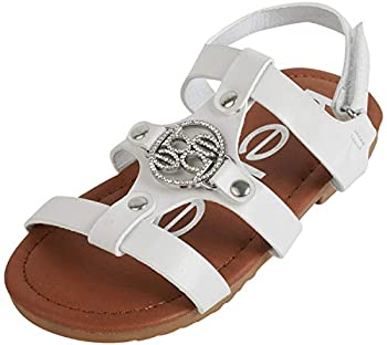 bebe Girls Iridescent Sandals with Medallion Logo and Adjustable Strap White Size 7