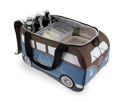 BRISA VW Collection - Volkswagen Bulli Bus T1 Kühltasche 25 Liter (Motiv: Petrol/Braun)