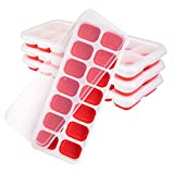Ice Cube Trays 4 Pack - Silicone Ice Cube Tray with Lid Super Easy Release Ice Cube Molds -...