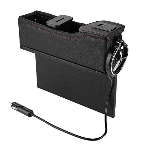 zhuolong Organizador del Asiento de Carro, Tenedor de la Bebida de la Taza de la Caja de Almacenamiento de la Ranura del Asiento de Carro con el indicador Digital de Carga por USB