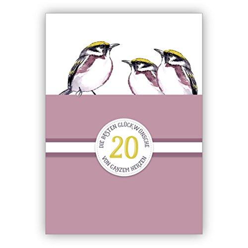 Klassieke verjaardagskaart voor de 20e verjaardag, porselein bruiloft, 20 jaar huwelijk jubileum met vogels, paars: 20 De beste felicitaties van het hele hart • ook directe verzending met inlegtekst