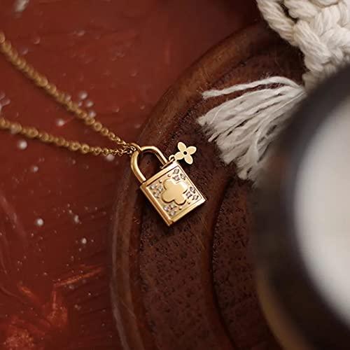 N/A Colgante de Collar de Mujer Diseño de Mujer Delicado Sabor Vintage en Relieve Florcircón pavimentado Bloqueo Encanto Collar Collar de Acero Inoxidable
