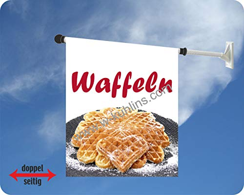 Werbeflagge, Werbefahne, Kaffeeflagge, Kuchenflagge - Kaffee, Kuchen, Torte - Ideal für Café, Bäckerei, Konditorei oder Hofladen, versch. Varianten, weiß (Waffeln Herz)