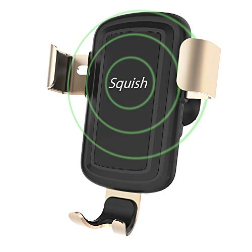 Squish Wireless Car Charger Mount, Qi Fast Wireless Charger Phone Holder for Car (Silver)
