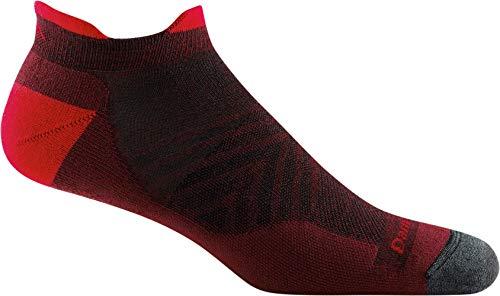 Darn Tough Men's Run No Show Tab Ultra-Lightweight with Cushion - Large Burgundy Merino Wool Socks for Running