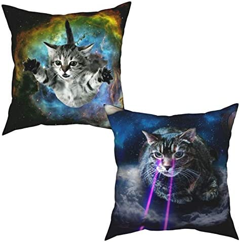 Throw Pillow Covers Funny Novelty Space Cat Pillowcases Set of 2 18x18 Inch Square Decorative product image