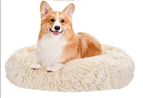 Pet Bed, Cat Dog Beds, Plush Donut Soft Comfortable Round Waterproof Anti-Slip Bottom Calming Dog Bed For Dogs Mattress Extra Large, Brown XYXG