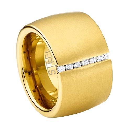 Heideman Ring Damen Lines aus Edelstahl Gold farbend poliert Damenring für Frauen mit Stein Zirkonia Weiss im Brillant Schliff 1,5mm
