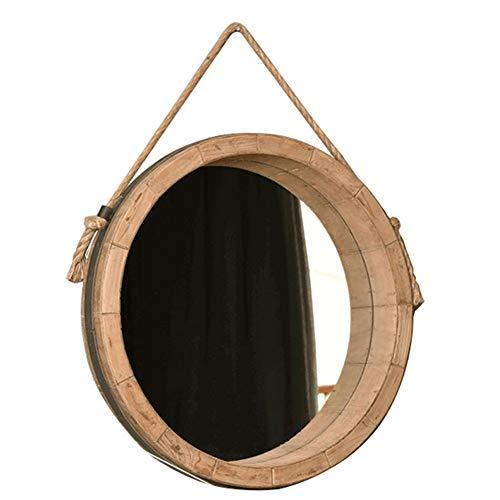 Amerikaanse oude spiegel eenvoudige hennep touw badkamer Scandinavische Ins make-up ronde IKEA muur opknoping