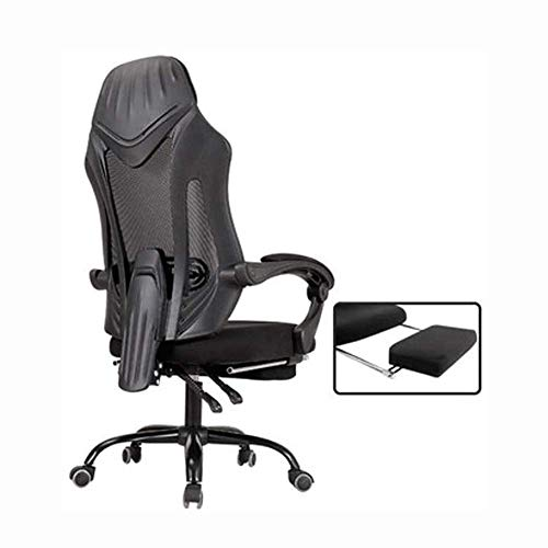 NBVCX Furniture Decoration Gaming Chair Ergonomic Computer Game Chair Seat Height Adjustment Recliner Swivel Rocker E-Sports Office Chair With Headrest and Lumbar Pillow (Footrest) (Color : Black)