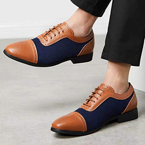 Sunyastor Men's Dress Shoes British Style Formal Leather Oxford Shoes for Men Casual Classic Modern Business Shoes Blue