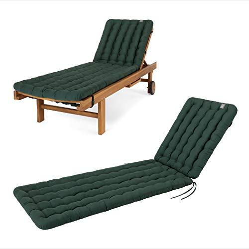 HAVE A SEAT Luxury - Liegenauflage, Auflage Gartenliege (Moosgrün) 200 x 60 cm, 8 cm dick, waschbar bei 95°C, Trockner geeignet, Bequeme Polsterauflage für Sonnenliege, Liegestuhl, Relaxliege