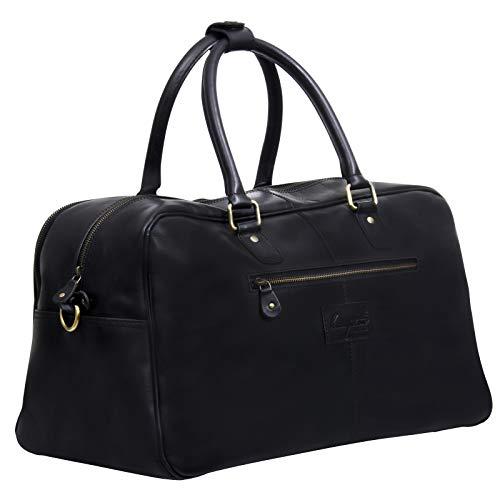 Hampton Schwarz Leder Reisen Machen Duffle Tasche Gepäck für Männer und Frauen