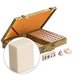 Chinese Mahjong (Mah Jong, Mahjongg, Mah-Jongg, Mah Jongg, Majiang) Game Set with Ivory Colored Tiles, Embroidered Silk Case, Small Size