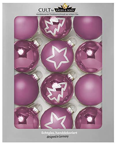 Krebs & Sohn Set Weihnachtskugeln aus Glas 8 cm - Christbaumschmuck Christbaumkugeln Weihnachtsdeko - 12-teilig, Rosa- Stern und Tannenbaum