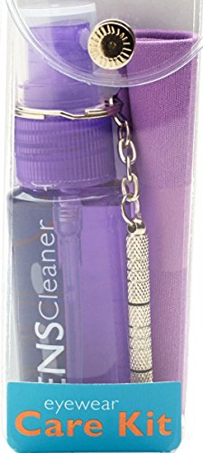 Eyeglass Cleaning & Repair Kit; 1oz Bottle Cleaning Spray, Microfiber Cleaning Cloth, Keychain Screwdriver, Purple