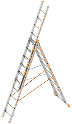 Layher 1040010 Allzweckleiter Topic 10, Aluminiumleiter 3-teilig 3x10 Sprossen, ausziehbar, beidseitig begehbar, klappbar, Länge 6.65 m