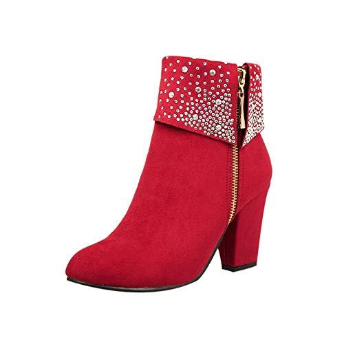 Logobeing Zapatos Mujer Tacones Botines Mujer Tacon Medio Planos Invierno Alto Botas de Mujer Casual Plataforma Nieve Ante Botas de Cordones Calientes Altas Boots(41,Rojo)