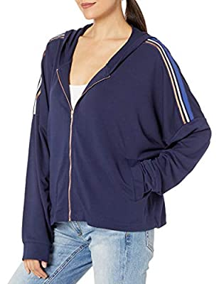 Splendid Women's Studio Active Long Sleeve Zip Up Hoodie, Peacoat Stripe, Medium