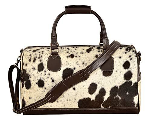 Smart Range Grand sac de week-end en véritable peau de vache marron véritable en peau de vache marron pour hommes