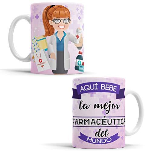 Taza para Farmacéutica - Aquí Bebe La Mejor Farmacéutica del Mundo - Taza para Desayuno - Idea para Hacer un Regalo Original (Farmacéutica)