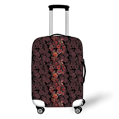 Travel Luggage Cover Suitcase Protector,Flower,Flowers of Asia Japanese Art Style Vivid Floral Pattern Boho Print,Maroon Black Scarlet Red,for Travel,M
