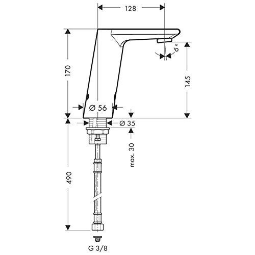 Hansgrohe – Infrarot Elektronik-Waschtischmischer, Temperaturregler, Batteriebetrieb, Chrom, Serie Metris S - 2