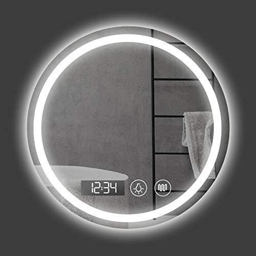 GETZ Espejo de Baño Redondo con Iluminación LED | Toque El Interruptor Desempañar la Música de Bluetooth | Espejo Redondo Decorativos