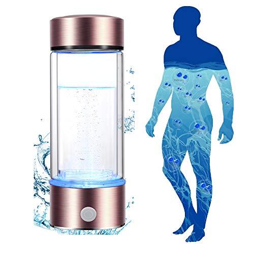 Kacsoo Ionizador de botella de agua con generador rico en hidrógeno, botella con generador de electrólisis rico en hidrógeno con efecto de luz colorida,botella de vidrio con generador de agua ionizada