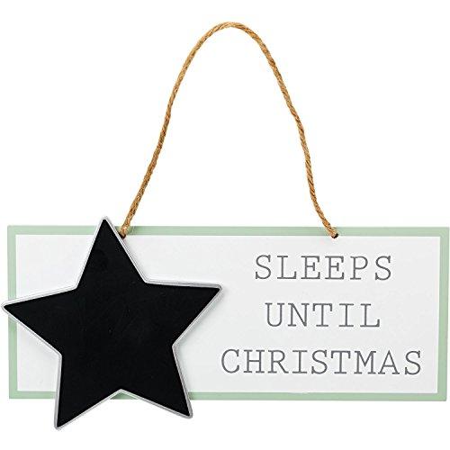 Compte à rebours de Noël étoile en bois de l'Avent Tableau noir plaque dort jusqu'à ce que Décoration de Noël