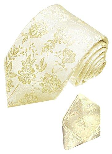 LORENZO CANA marcas Set 100% seda Ivory boda corbata y–Cabeza Toalla–Corbata boda...