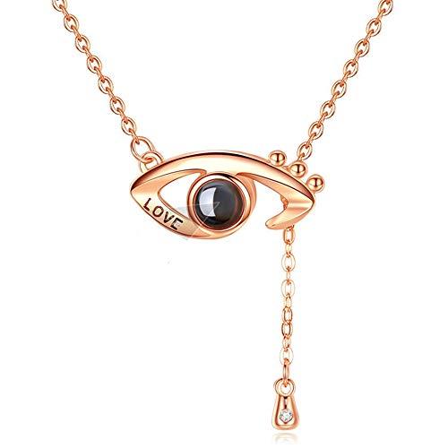 Dames Ketting Aangepaste Fotoprojectie Ketting 925 Sterling Zilveren Ketting 100 Talen I Love You Eye Hanger