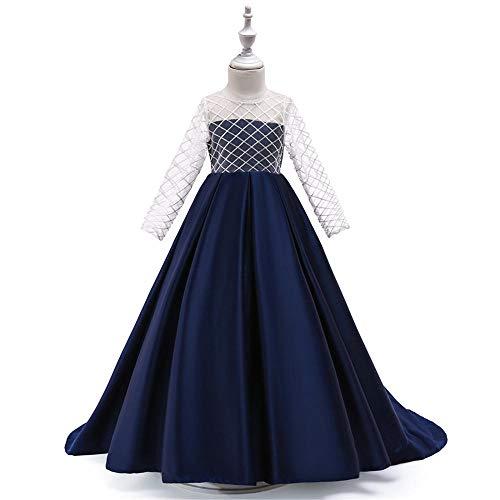 Vestido de cola superior de tubo de malla para niñas tela de color sólido Vestido de manga larga y hasta el suelo Falda plisada de red Boda Fiesta Vestido de baile de graduación-azul marino_150cm