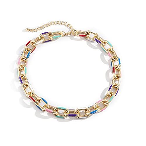 M/S Gargantilla de Hip Hop, Collar, Collares, eslabones de Cadena, joyería Colorida Vintage para Mujer, Oro, 40 cm