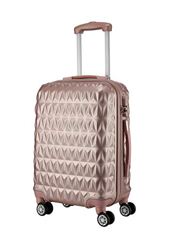 Lightweight 4 Wheel ABS Hard Shell Travel Trolley 3 Piece Lugagge Suitcase Set, 20' Cabin + 24' + 28' Hold Check in Luggage (Rose Gold, 28)