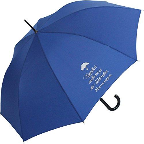 Stockschirm für Damen und Herren mit Automatik - Bedruckt Eigentlich wollte ich … - royal-blau