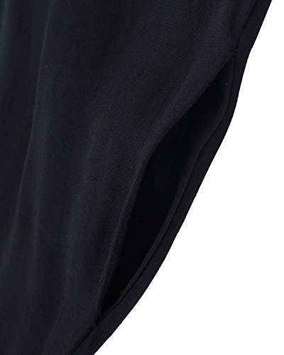 ACHIOOWA Mujer Vestido Elegante Playa Casual Dress Cuello V Sin Manga Túnica Sin Hombros Escote Punto Bolsillo Caftán Oversize Falda Larga Negro M