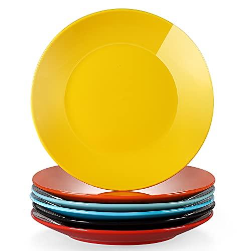 LOVECASA serie Sweet Juego de 6 Platos Cocina Vajilla Porcelana Platos Llanos de 26.5cm Plato de Cena 6 Colores