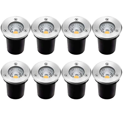 Landscape Lights ZUCKEO 8 Pack LED Well Lights 3W 12V-24V Ground Lights IP67 Waterproof Low Voltage Landscape Lighting for Driveway, Deck, Step, Garden Lights Outdoor (Warm White)