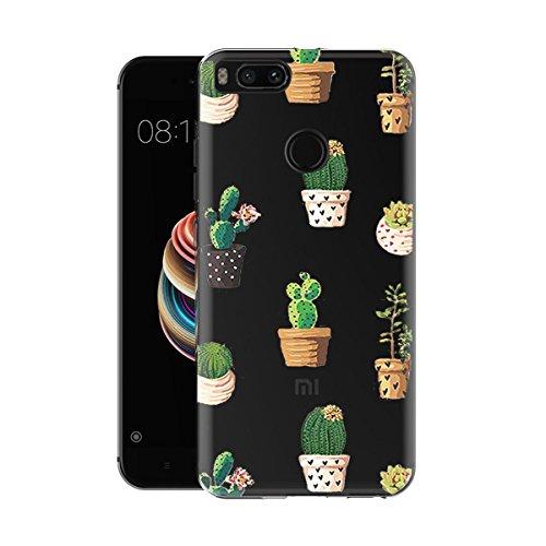 Caler ® Funda Compatible/Reemplazo para Xiaomi Mi A1 / 5X Funda, Case Suave TPU Gel Silicona Ultra-Delgado Ligera Anti-rasguños Carcasa Patrones Imaginación Protección (Cactus en Maceta)