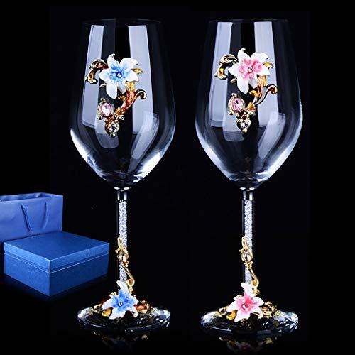 Jiu Lunettes de vin rouge 350ml, 2Pieces, Creative Glass Goblet, Set vin for Halloween Bar Family Party de Noël Jiu (Color : Powder blue, Size : With gift box)