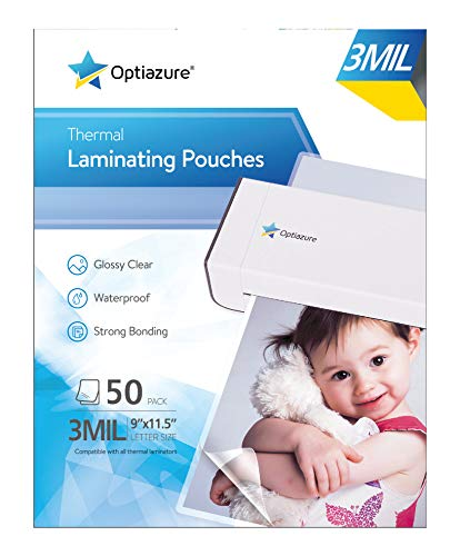 Optiazure Thermal Laminating Pouches 9quotx115quot Inches 3mil 50Pack Clear and Sturdy Letter Size