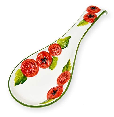 Lashuma Handgemachte Löffelablage aus Italienischer Keramik, Kochlöffelablage Reliefdekor im Tomaten Design, Löffelhalter 28 cm