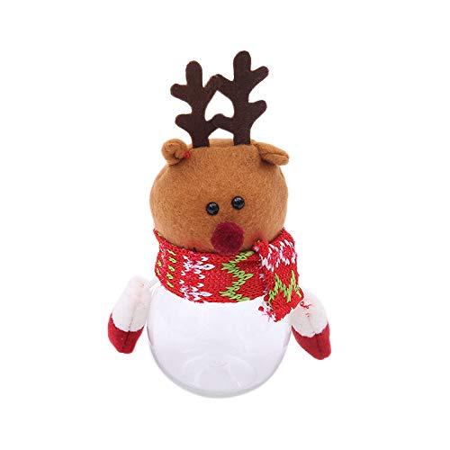 TaoToa Tarro de plástico transparente para dulces de Papá Noel, muñeco de nieve, muñeco de nieve, muñeco de nieve, caja de almacenamiento de latas de regalos titular de adornos decoración