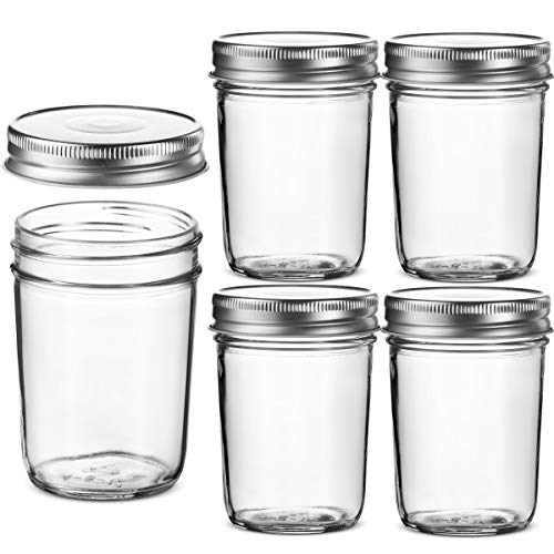 Glass Regular Mouth Mason Jars, 8 Ounce Glass Jars