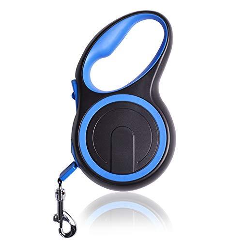 Freiheit und Schutz Metallhaken Rostfreie Hochleistungs-Hundeleine mit rutschfestem Griff Einhandbremse Pausenverriegelung Einknopfbremse,Blau,5M